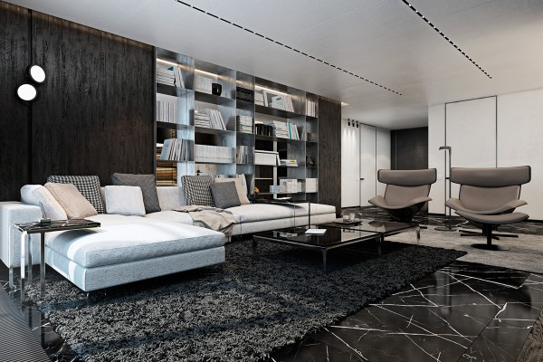 Shelves and niches are usually the first spaces to suffer from a lack of natural light – but this dividing wall tackles that problem by remaining open in the back, treated with a glossy finish to catch the light coming in from the room behind it.