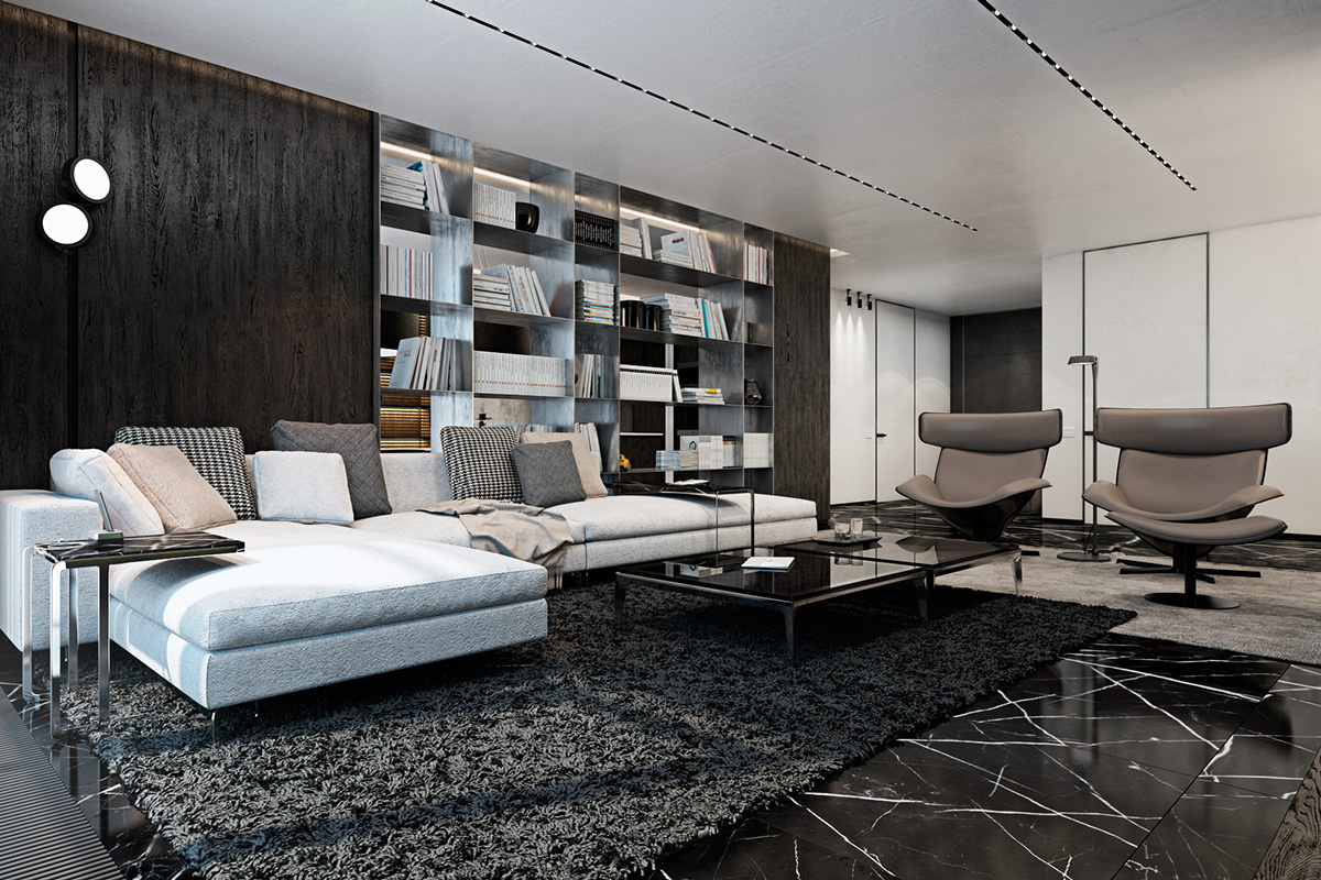 Three luxurious apartments with dark modern interiors for Modern apartment living room design