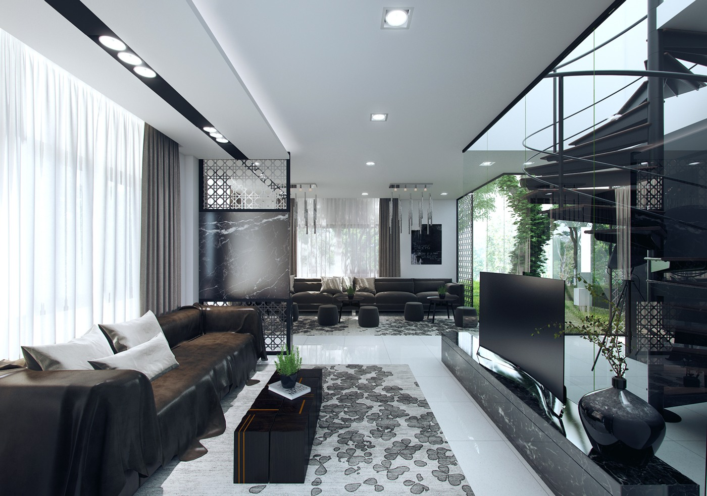 Transparent Interior Walls - 3 natural interior concepts with floor to ceiling windows