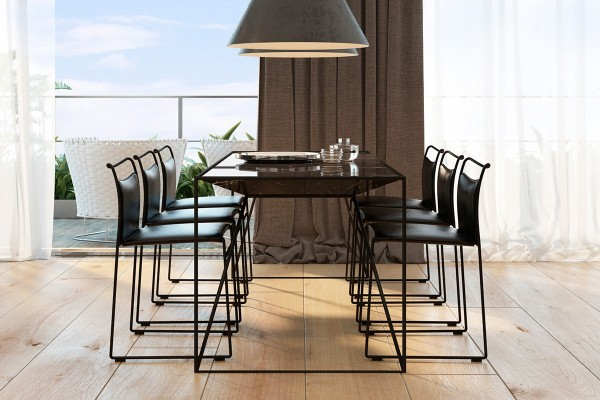 Clean lines and low-profile aesthetics preserve the gorgeous view. The shape of the conical pendant lamps reappears in inner profile of the table – a very cool effect.
