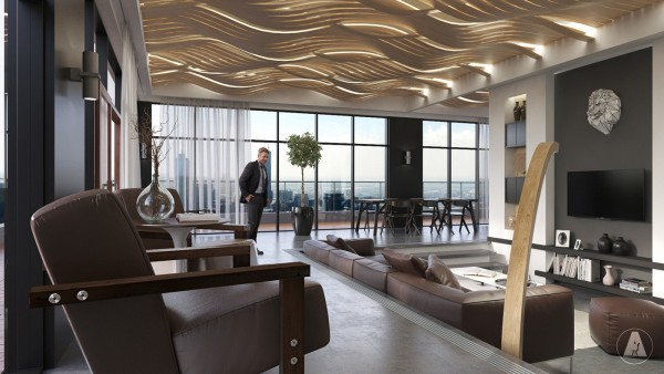 Wow! The North & LaSalle Loft by Bucharest-based design firm Artroom Studio takes an Art Deco approach to modern luxury and the result is unmatched. At first glance, the illuminated sculptural ceiling catches and captivates the eye – its wavy design seems to roll like an incoming tide.