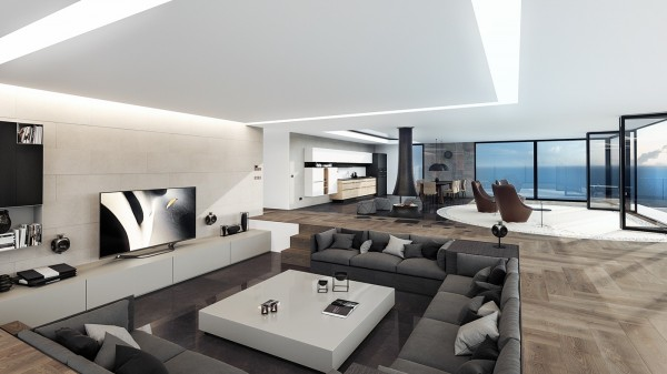 Speaking of inspiring spaces, this coastal home visualized by architect and designer Daniel Vojinovic is a great place to begin our adventure of contemporary luxury. Open concept living embraces the seaside environment with a 180-degree view through floor-to-ceiling windows.