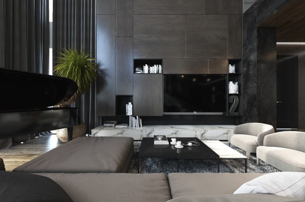 A tall storage unit seems to float above a marble sideboard. Carefully arranged wooden panels echo the geometry of the modular sofa, while open niches in matte black help disguise the television. A sliding door can easily conceal the television between uses.