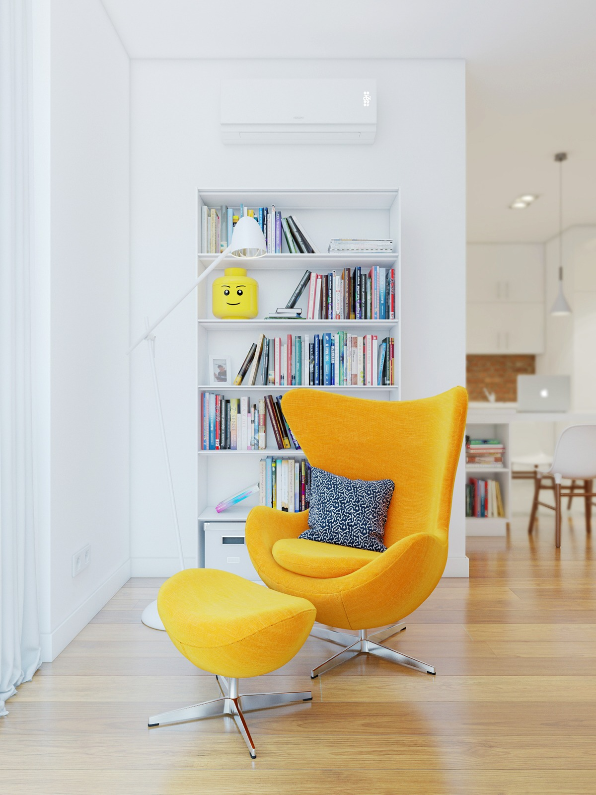 Yellow Egg Chair - 3 stunning homes with exposed brick accent walls