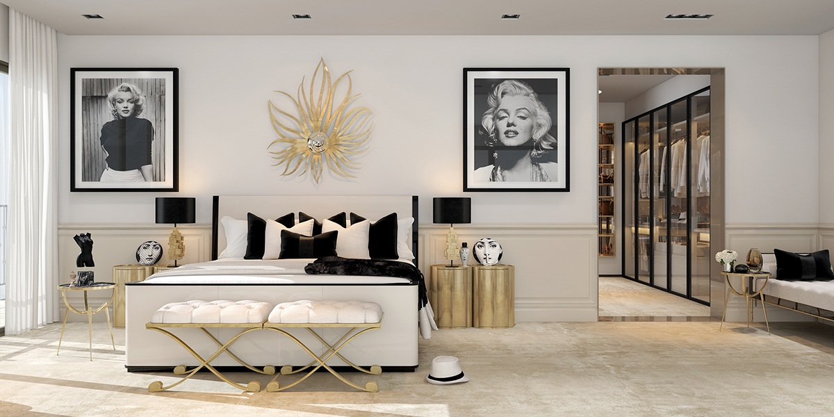 A modern art deco home visualized in two styles Art deco bedroom ideas