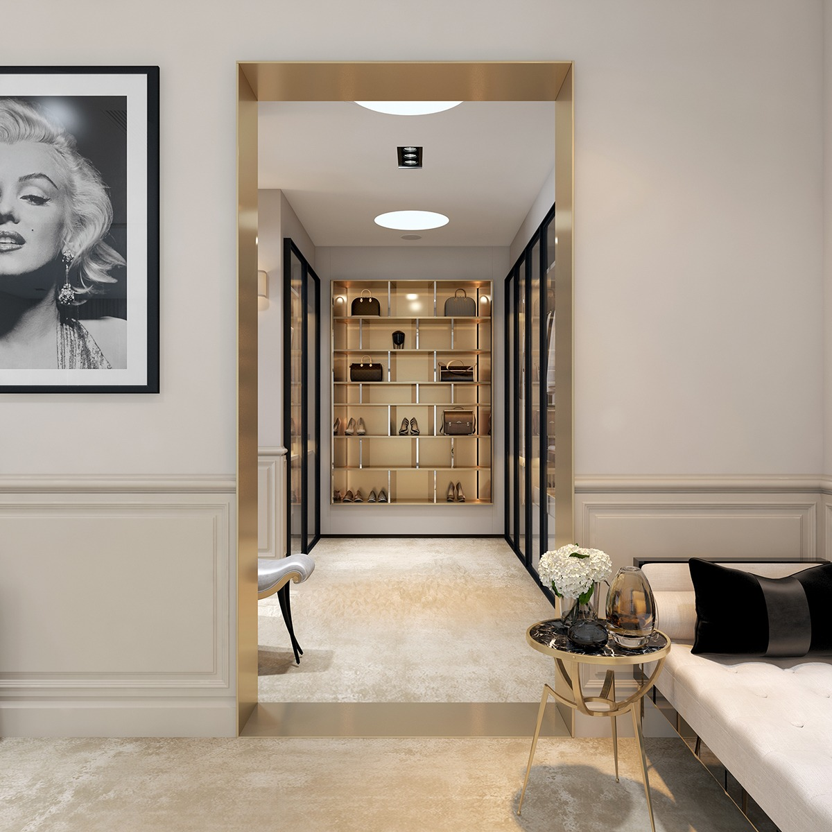 A modern art deco home visualized in two styles for Dressing room interior