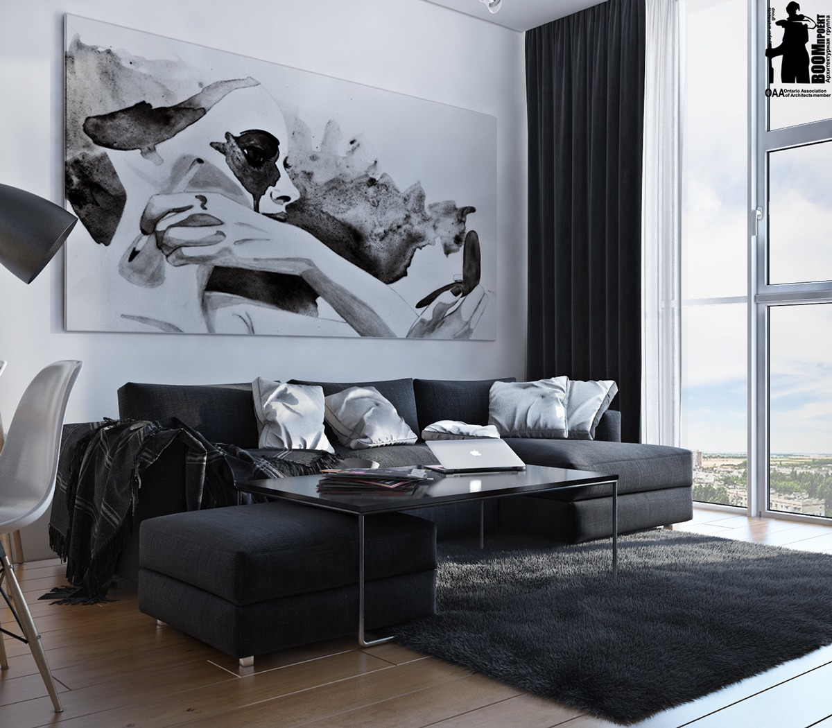 Artistic apartments with monochromatic color schemes for Colour schemes for interiors