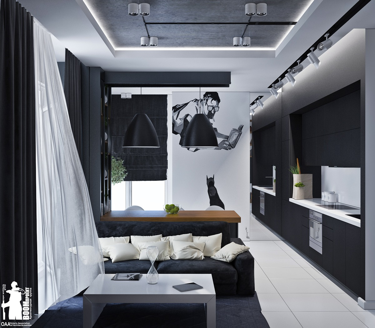 Artistic Wall Decal Ideas - Artistic apartments with monochromatic color schemes