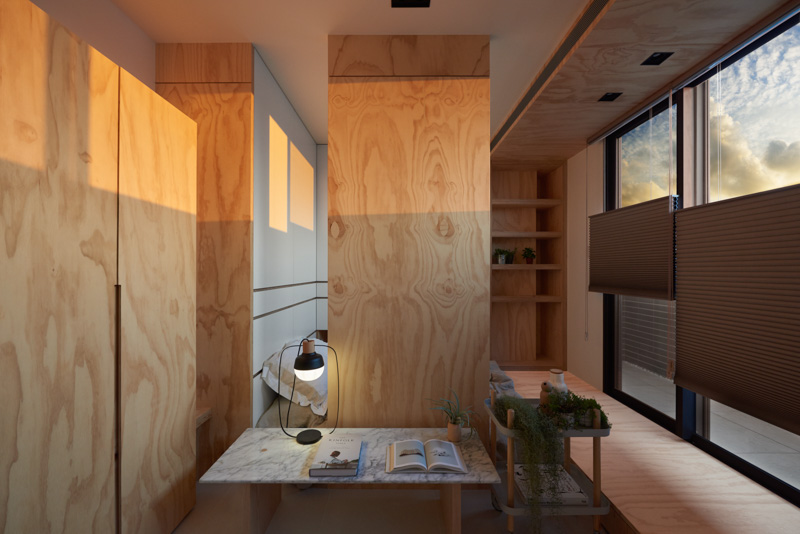 Attractive Plywood Wall Inspiration - An incredibly compact house under 40 square meters that uses natural decor