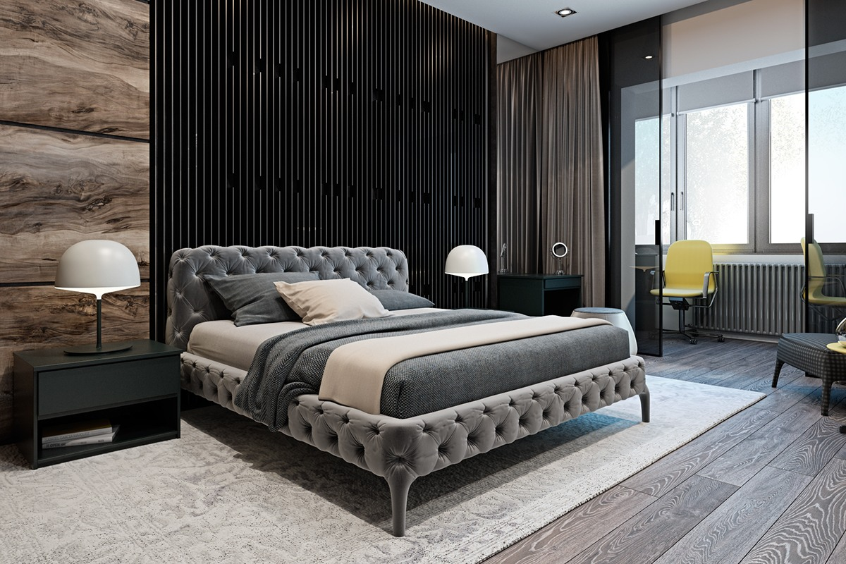 Bedroom With Interior Textures - A modern flat with striking texture and dark styling