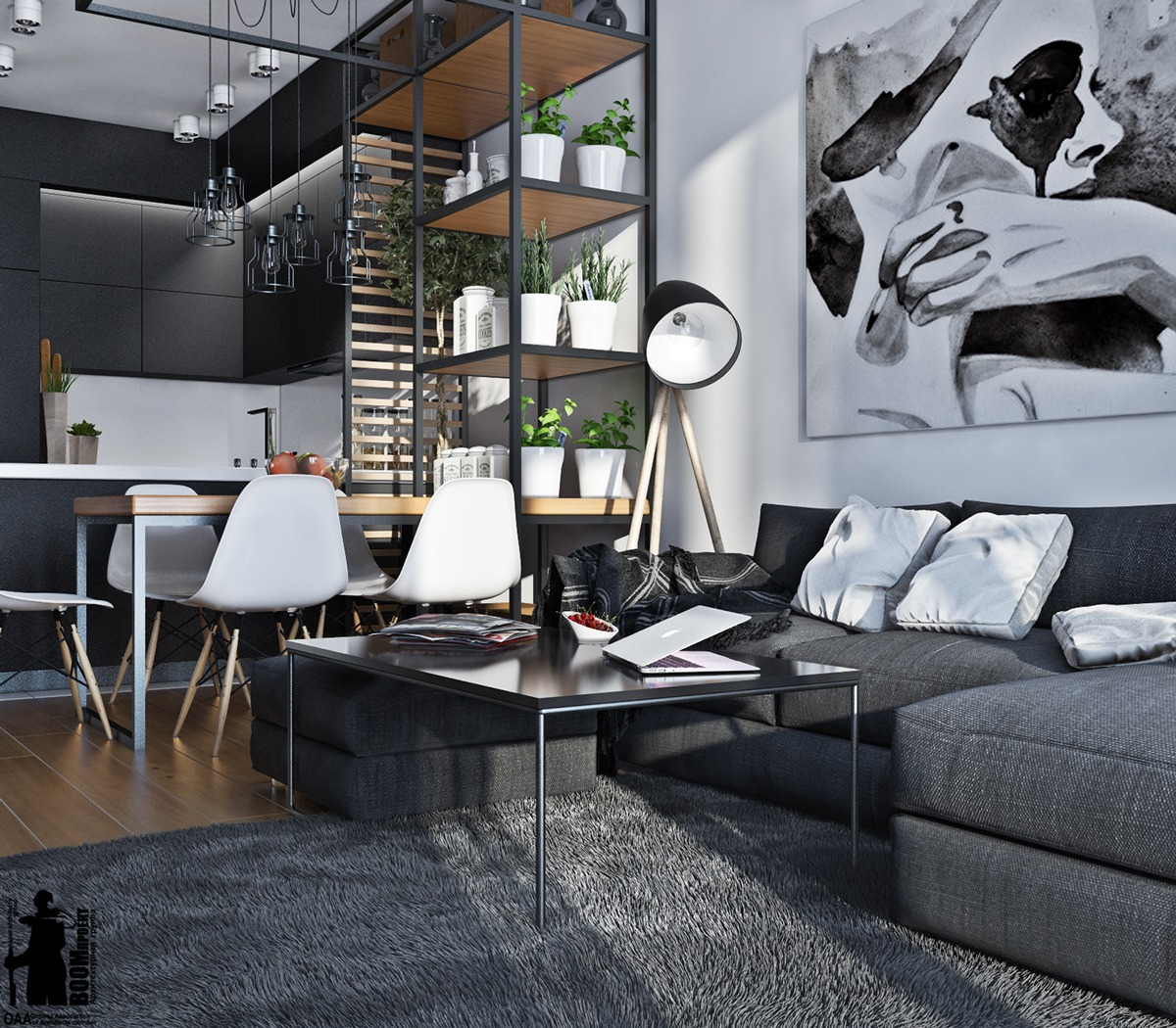 Artistic apartments with monochromatic color schemes for Dark grey interior