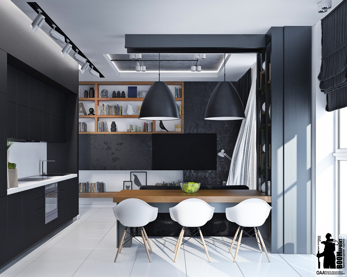 Black And White Small Apartment - Artistic apartments with monochromatic color schemes