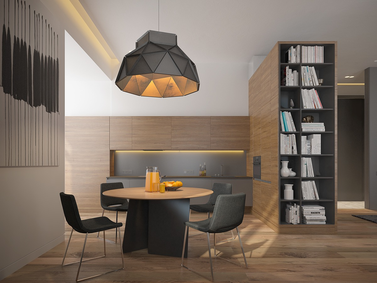 Black And Wood Dining Room Theme - 3 one bedroom homes with sharp geometric decor