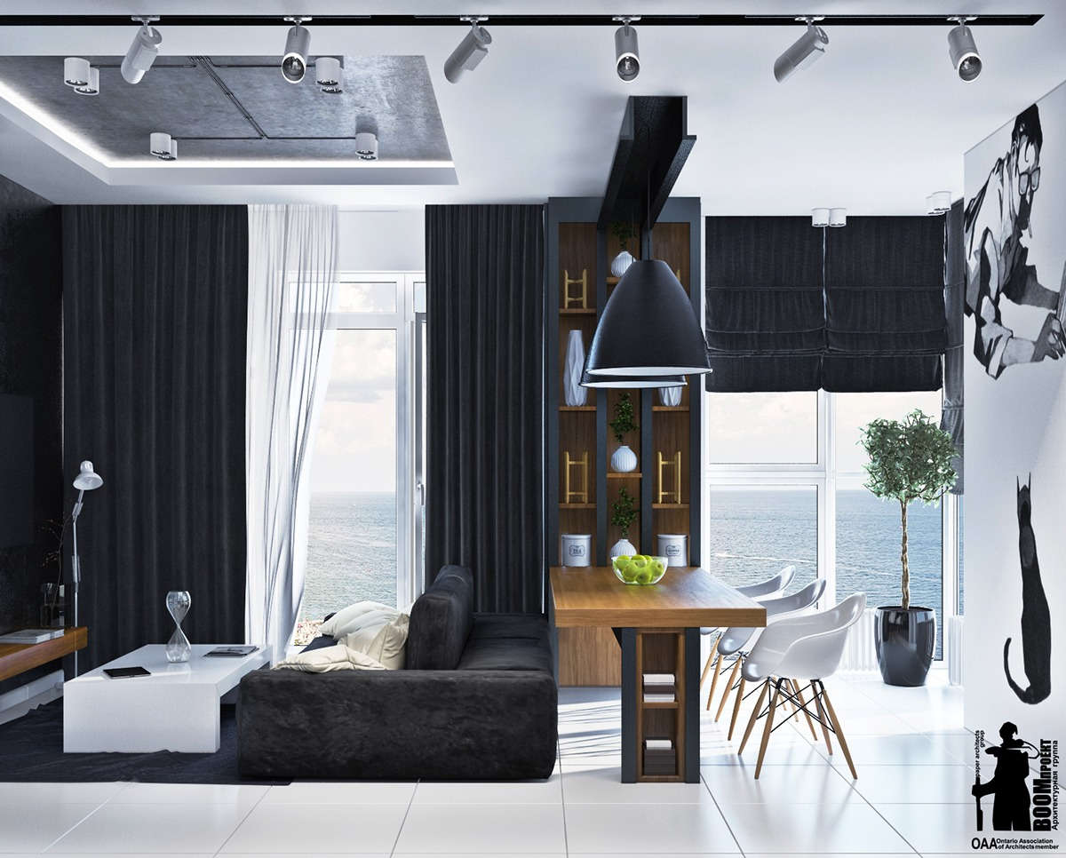 Black Curtain Inspiration - Artistic apartments with monochromatic color schemes