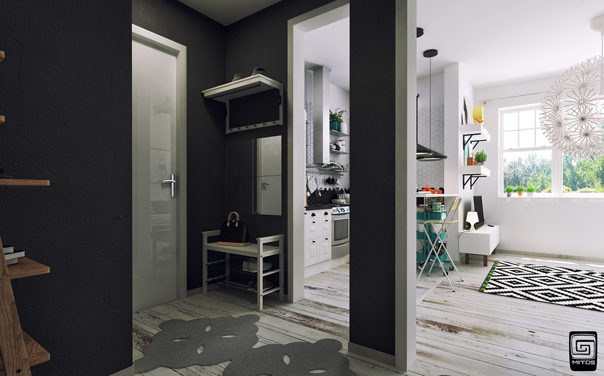Black Painted Entryway - Artistic apartments with monochromatic color schemes