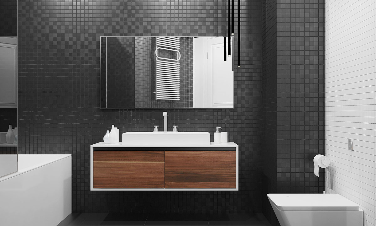 Black Tile And Wood Modern Bathroom - Four homes with four different takes on integrated storage