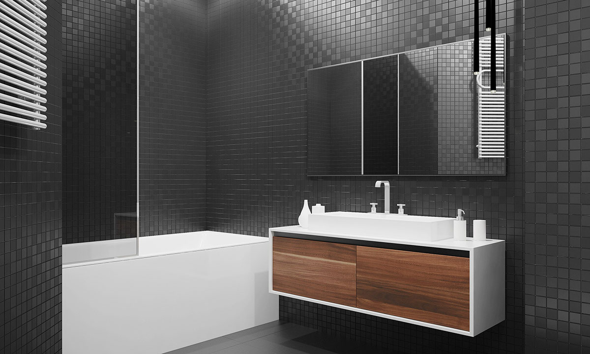 Black Tiled Modern Bathroom - Four homes with four different takes on integrated storage
