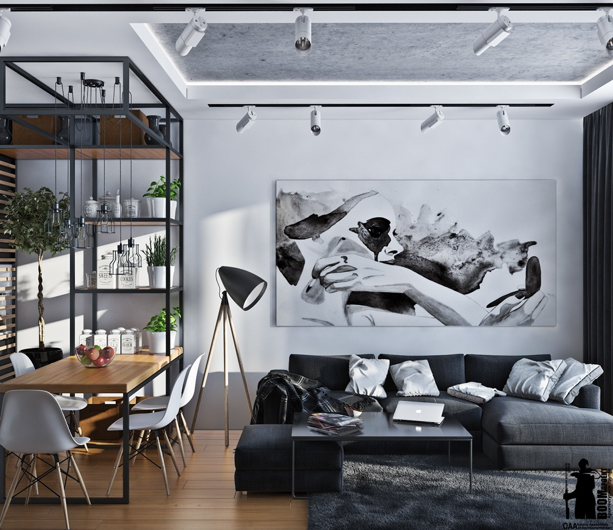 Artistic apartments with monochromatic color schemes for Black in interior design