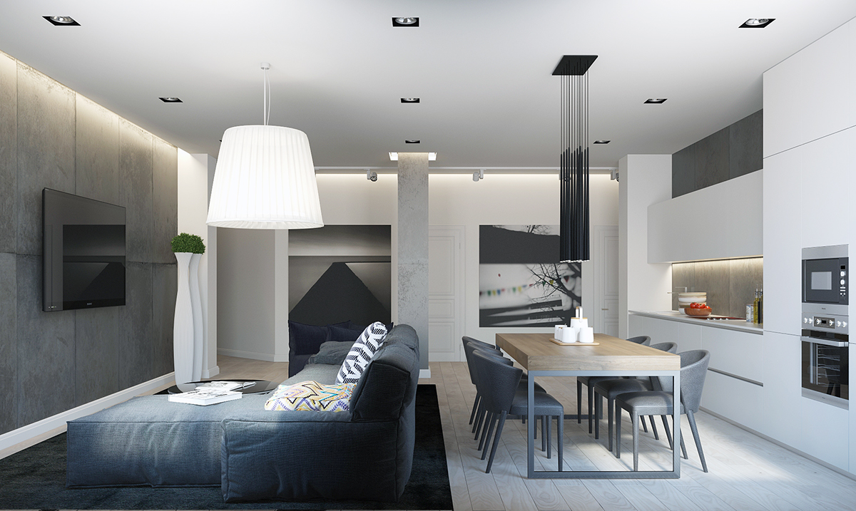 Blue And Gray Modern Interior - Four homes with four different takes on integrated storage