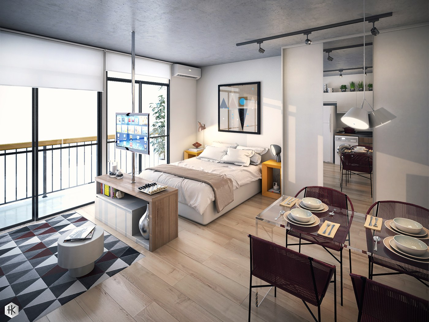 5 small studio apartments with beautiful design for One big room apartment