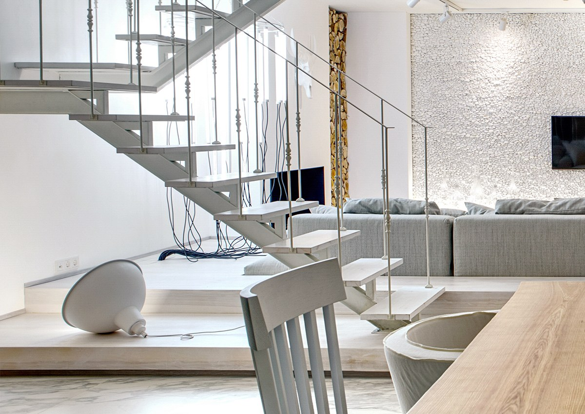 Ceiling Lamp As Floor Lamp - A bright white home with organic details