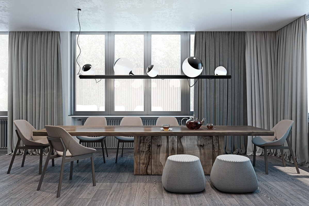 Contemporary Dining Room In Neutral Colors - A modern flat with striking texture and dark styling