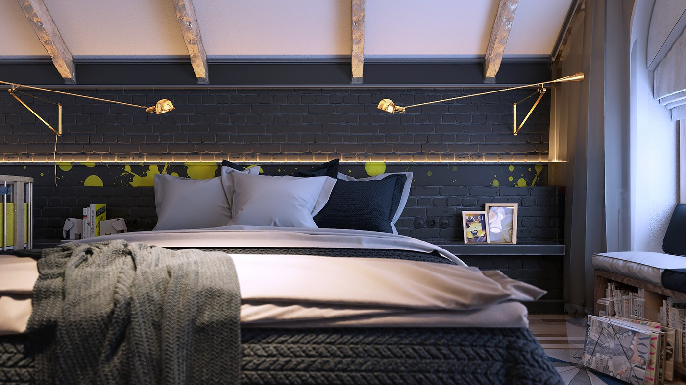 6 creative bedrooms with artwork and diverse textures. Black Bedroom Furniture Sets. Home Design Ideas