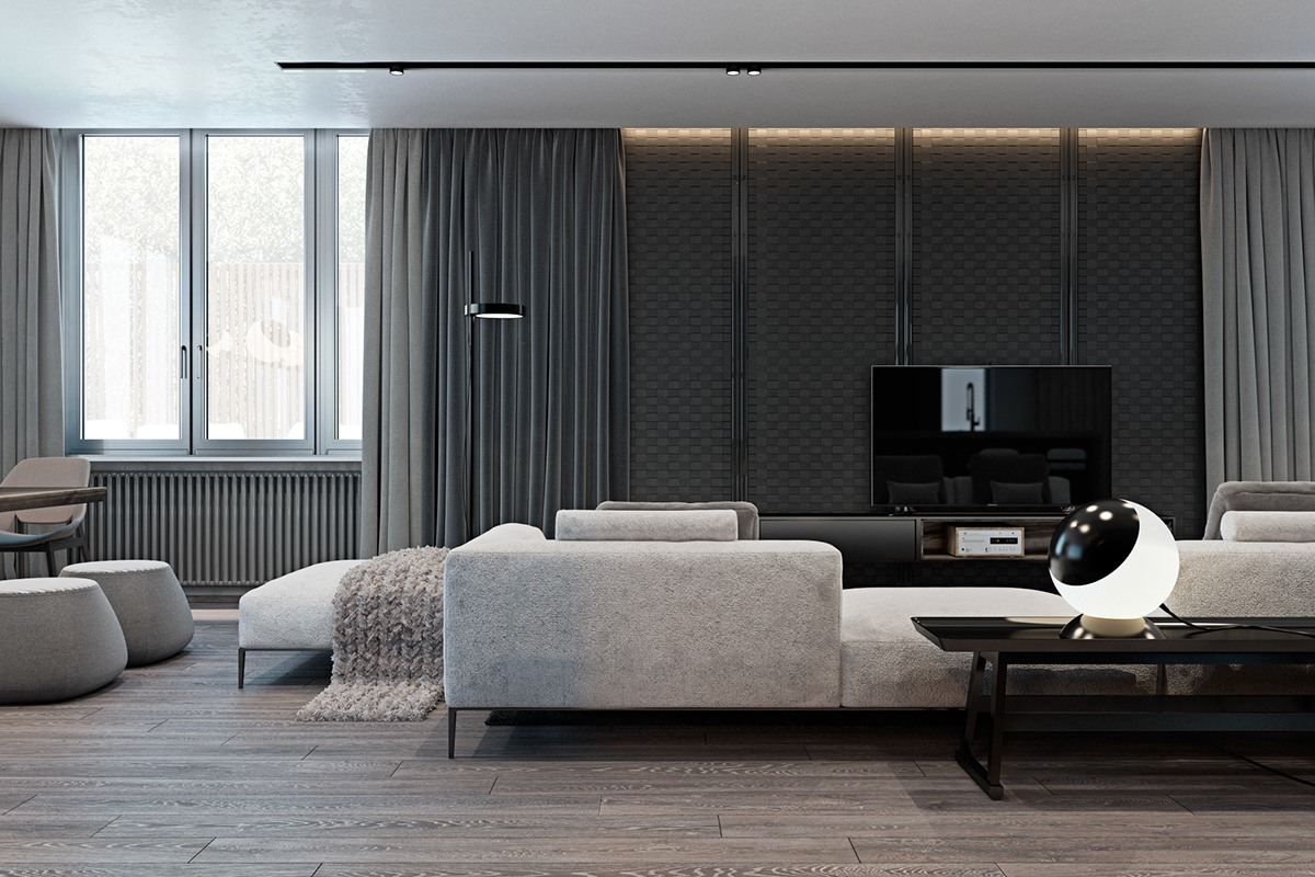 Elegant Wall Texture - A modern flat with striking texture and dark styling