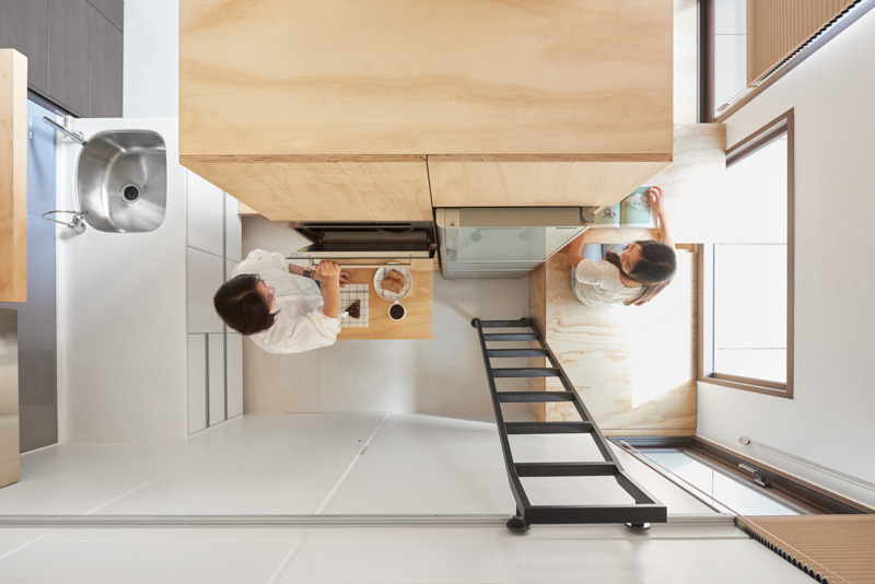 Extremely Tiny Kitchen Design - An incredibly compact house under 40 square meters that uses natural decor