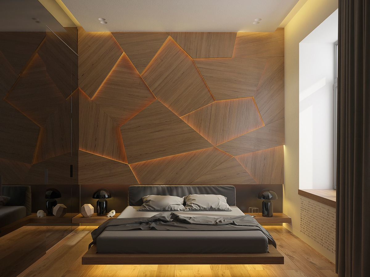 Geometry Inspired Bedroom Decor - 3 one bedroom homes with sharp geometric decor