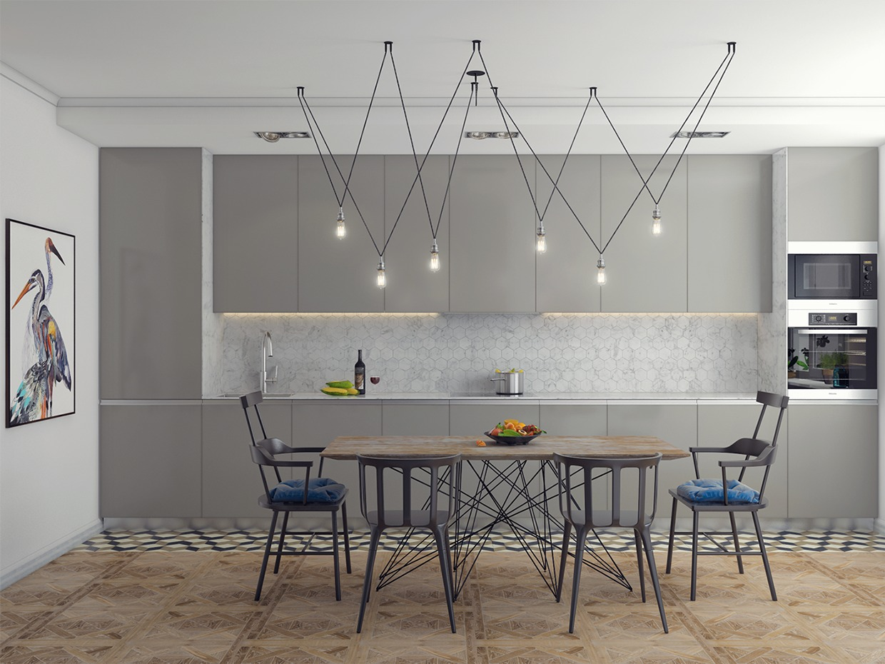 Geometry Inspired Kitchen Furniture - 3 one bedroom homes with sharp geometric decor