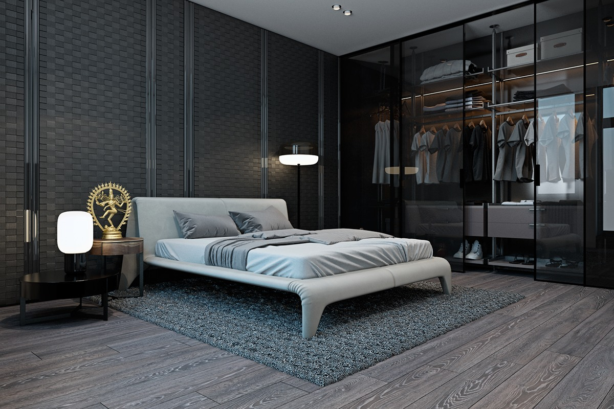 Glass Closet Doors - A modern flat with striking texture and dark styling