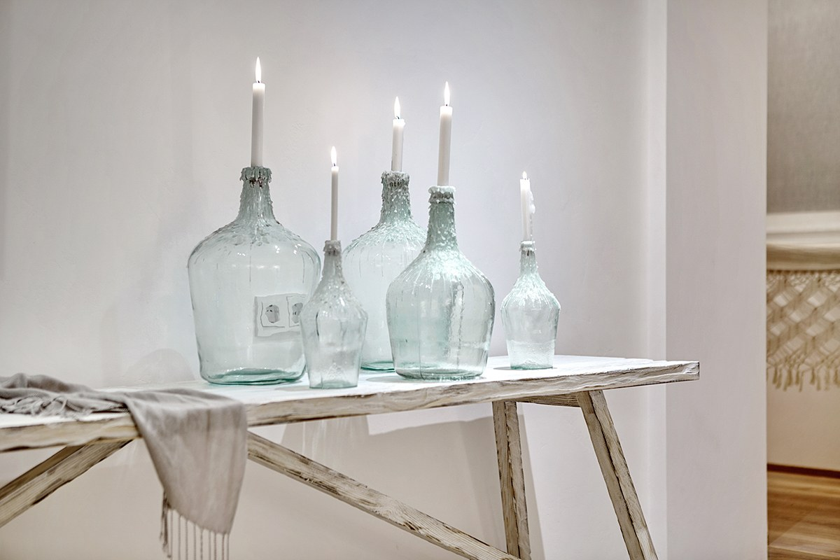 Glass Jar Candle Holder - A bright white home with organic details