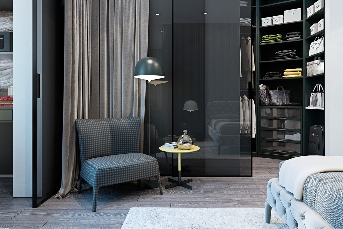 Gorgeous Walk In Closet Inspiration - A modern flat with striking texture and dark styling
