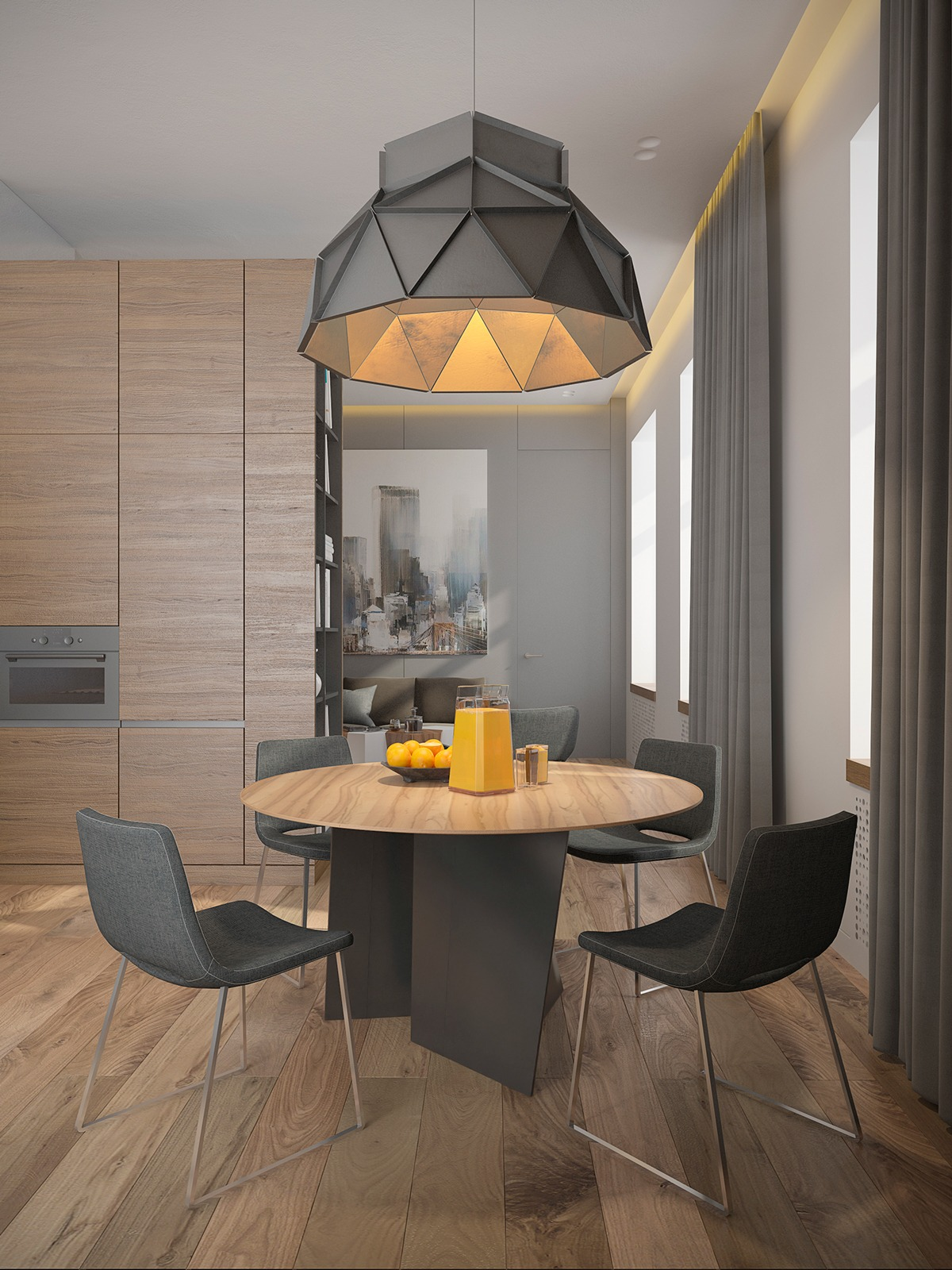 Large Geometric Pendant Light - 3 one bedroom homes with sharp geometric decor