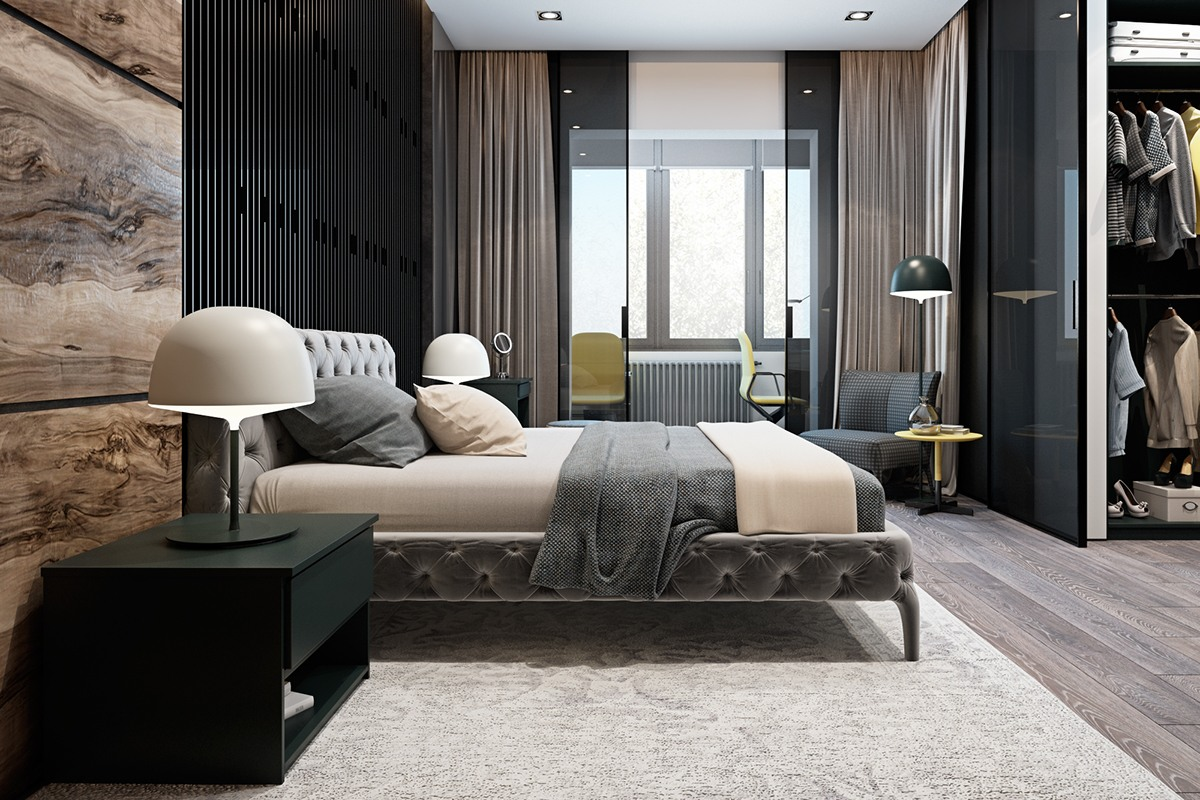 Luxurious Bedroom Textures - A modern flat with striking texture and dark styling