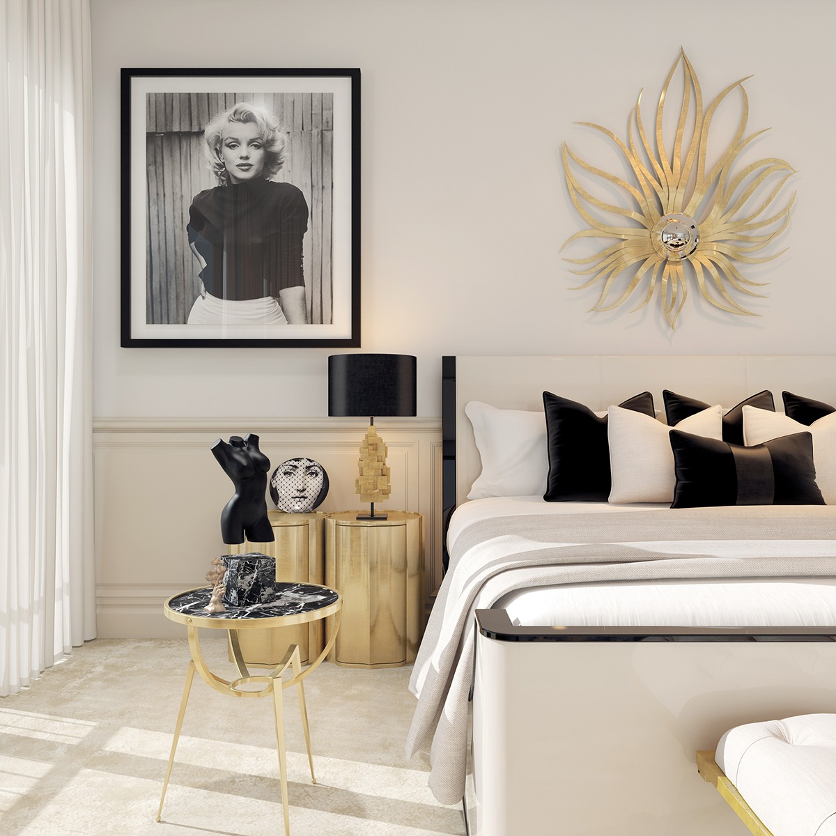 A modern art deco home visualized in two styles for Designer inspired bedding