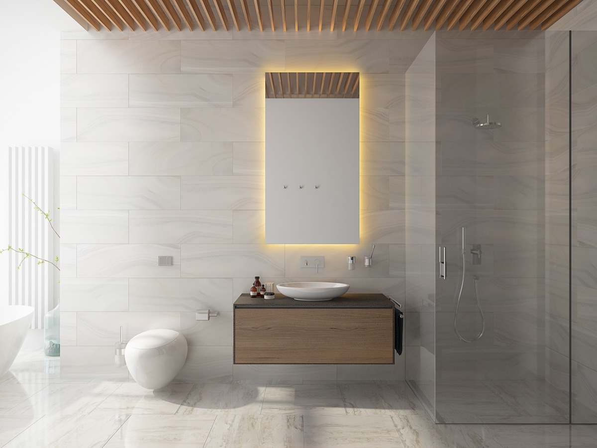 Masculine Marble Bathroom Inspiration - 3 one bedroom homes with sharp geometric decor