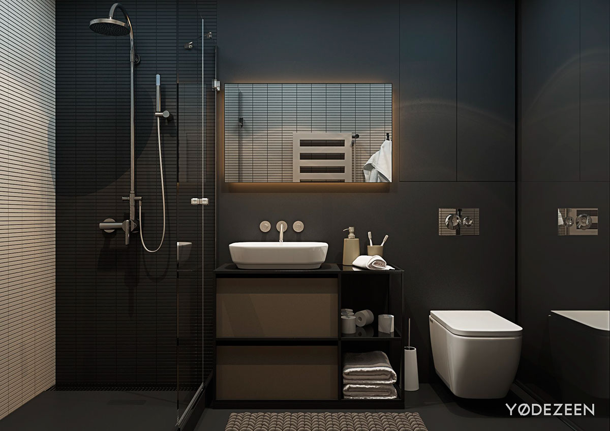 5 small studio apartments with beautiful design for Black bathroom designs