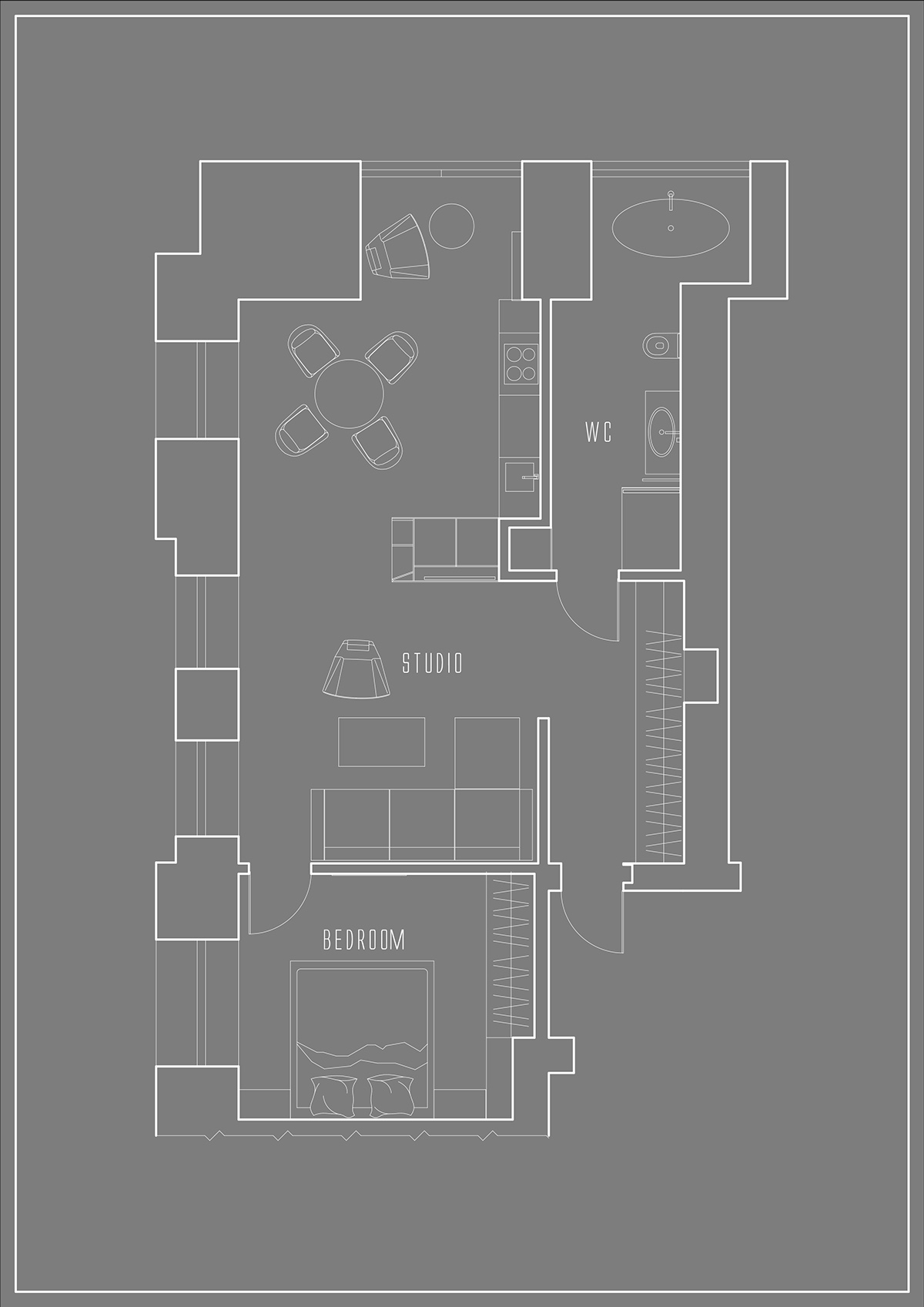 Mens Apartment Floor Plan - 3 one bedroom homes with sharp geometric decor