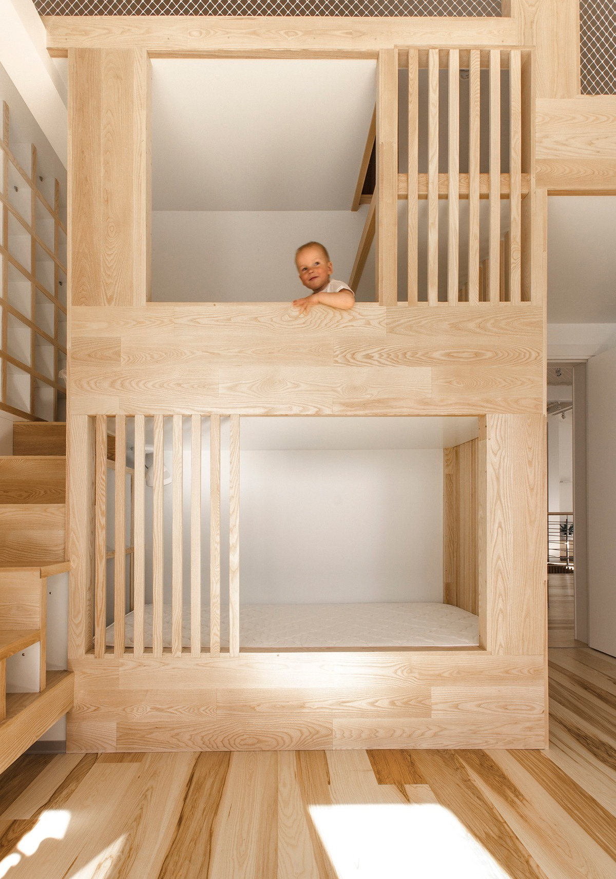 Minimalist Loft Bed Ideas For Kids - A kid friendly apartment renovation by ruetemple architects