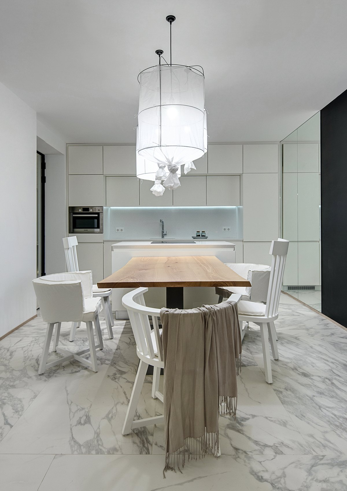 Minimalist Wood And Marble Kitchen - A bright white home with organic details