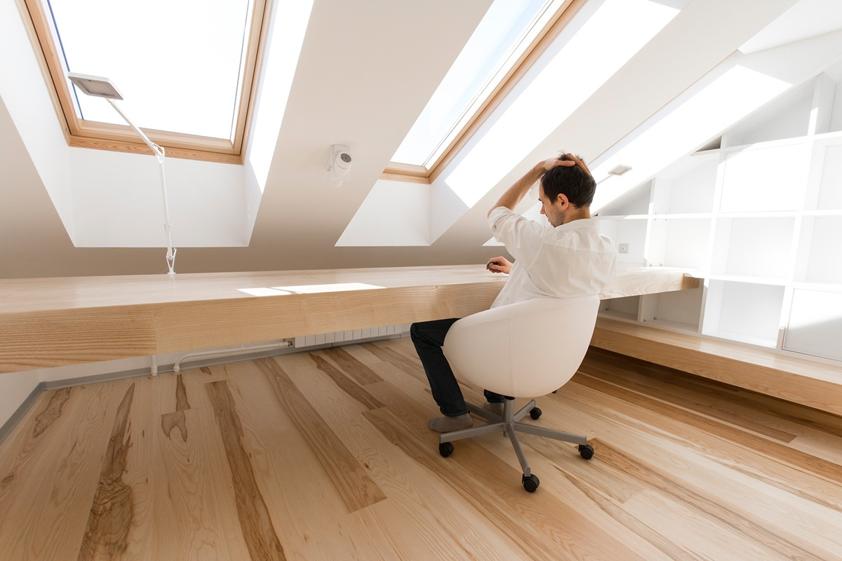 Minimalistic White Office Design - A kid friendly apartment renovation by ruetemple architects