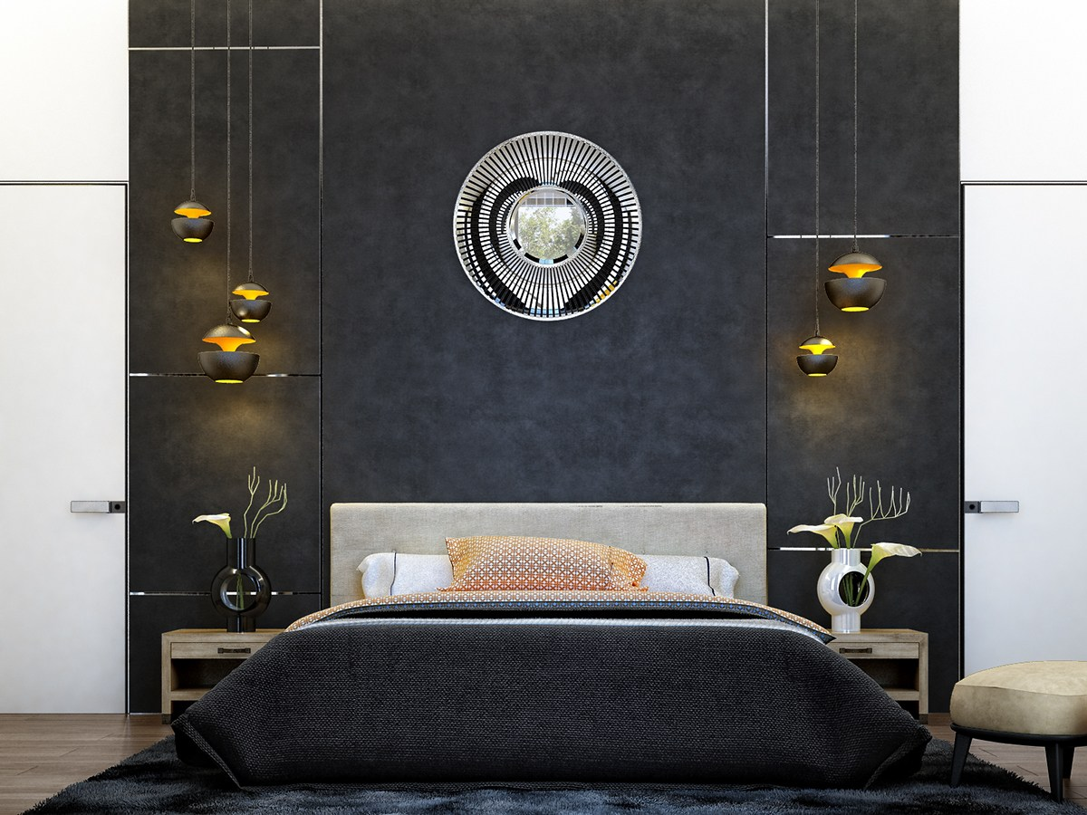 6 creative bedrooms with artwork and diverse textures for Photo moderne deco