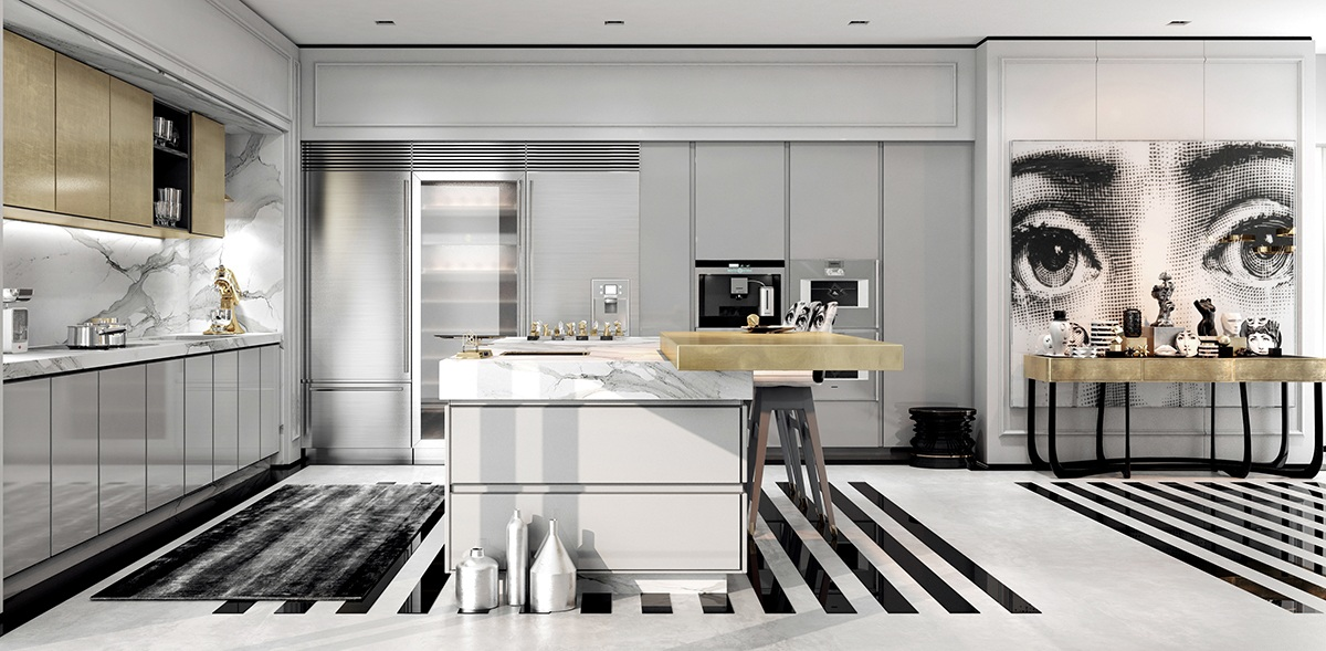 A modern art deco home visualized in two styles for Contemporary kitchen art decor