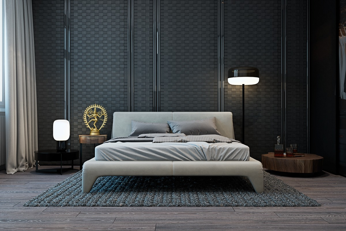 A modern flat with striking texture and dark styling for Bed in living room ideas