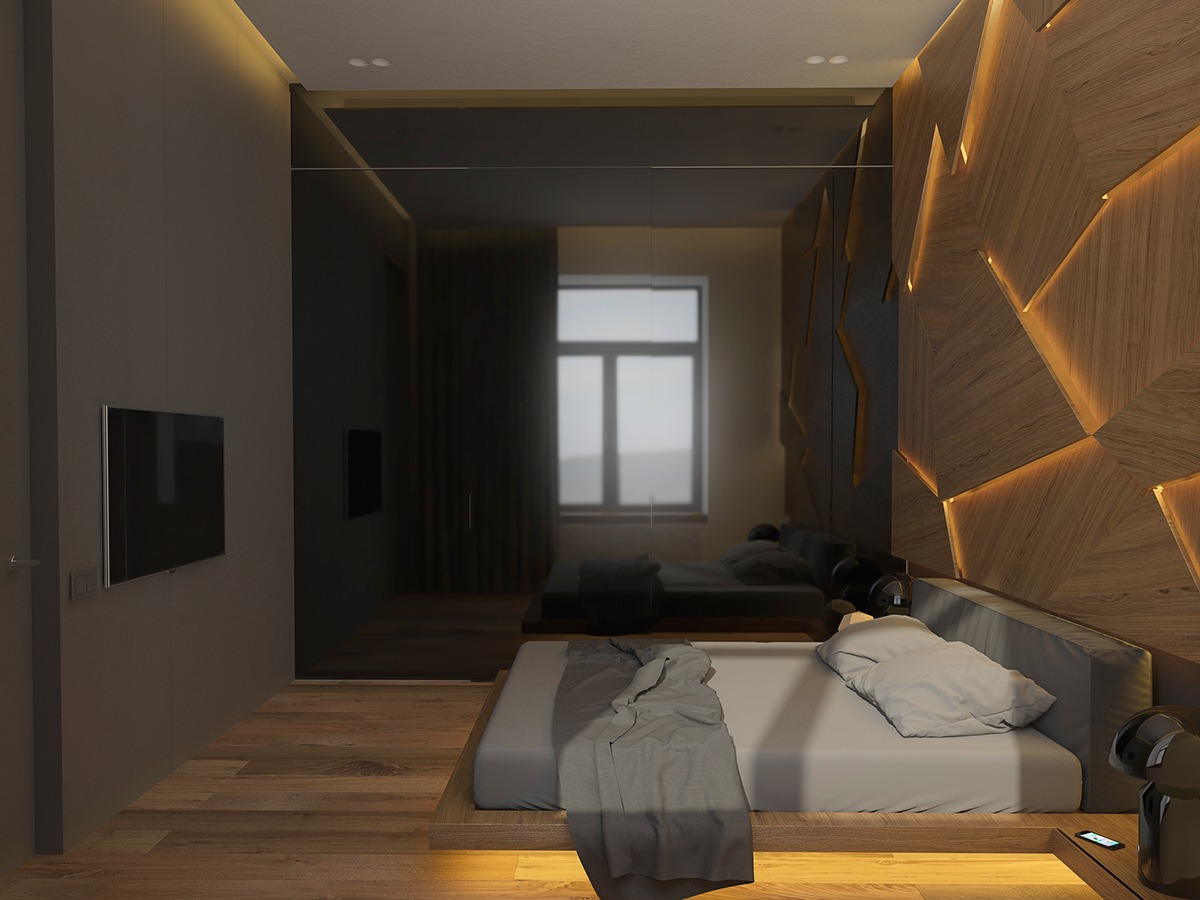 Modern Bedroom Textures - 3 one bedroom homes with sharp geometric decor