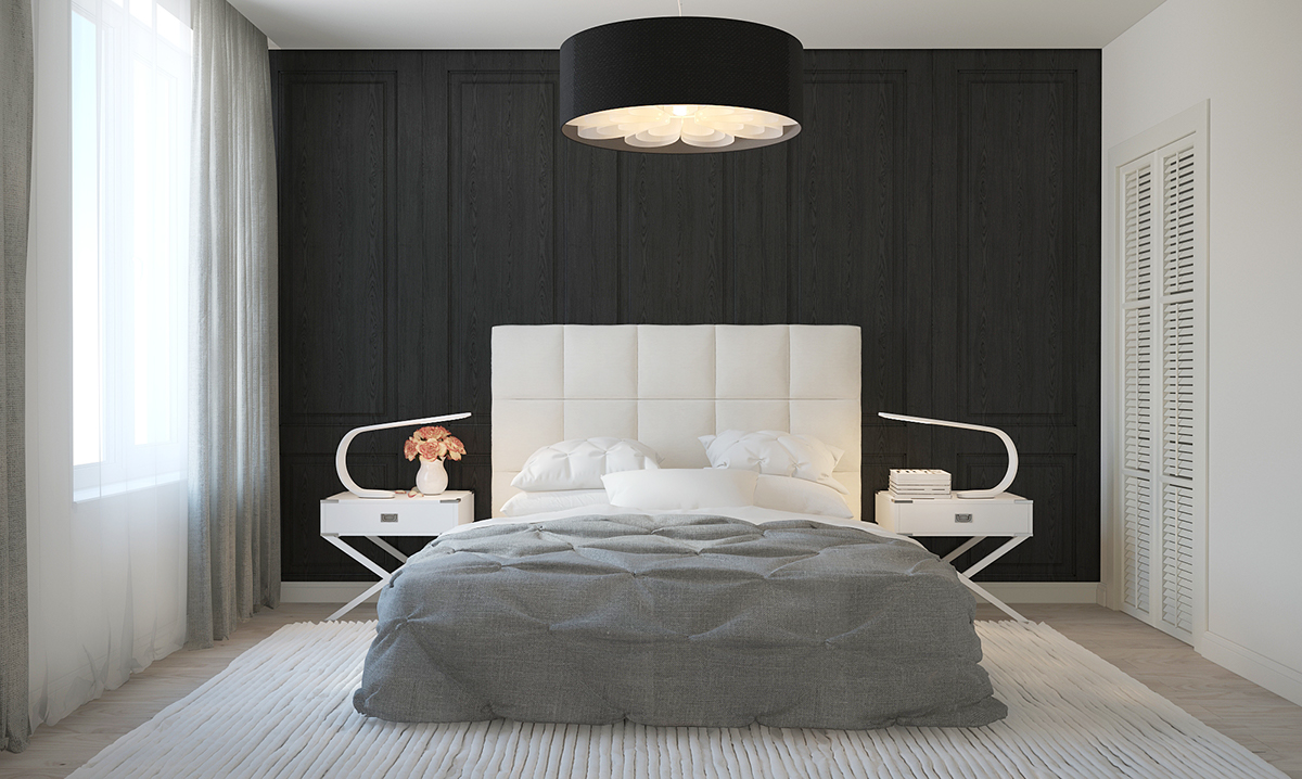 Modern Black And Gray Bedroom - Four homes with four different takes on integrated storage