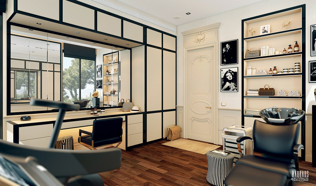 A modern art deco home visualized in two styles for Modern artwork for home