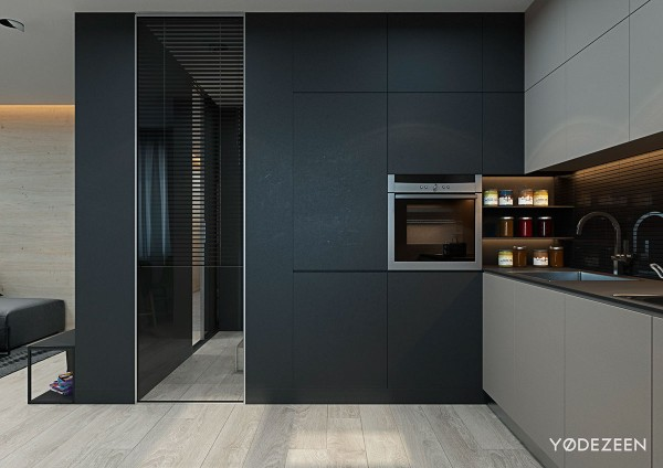 5 small studio apartments with beautiful design for Matte black kitchen doors